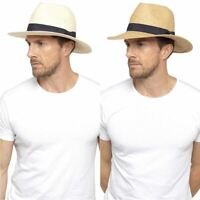 Adults Undercover Summer Beach Holiday Straw Hat Fedora with Band