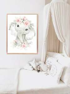 Nursery Wall Art Elephant - Pink and Grey Nursery Decor - Cute Baby Girl's Theme