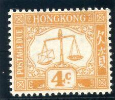 Hong Kong 1938 KGVI Postage Due 4c orange superb MNH. SG D7.