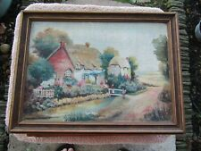 Impressionist Antique Cottage Garden Painting Europe? Signed  Oil Painting No Re