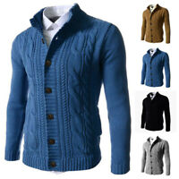 Mens Long Sleeve Winter Sweater Casual Knitted Button Down Cardigan Warm Tops