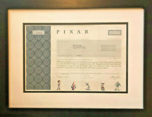Pixar animated studios stock certificate > Steve Jobs founded now part of Disney