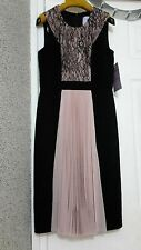 JS COLLECTIONS Cocktail Dress Size 8 / 36 Black Pastel Pink  NEW