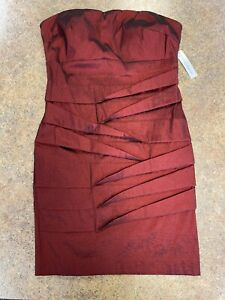 Simply Liliana Women Deep Red Ruched Cocktail Formal Strapless Dress Size 12