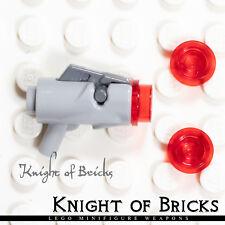 LEGO Minifigure LIGHT GRAY Super Heroes Weapon Gun Blaster Trigger + 3 Bullets