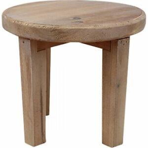 Rustic Finish Round Timber Stool 22 cm x 20 cm Display Shelf Plant Holder