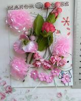 RASPBERRY & PINK 5 Styles 16 Paper - Roses, Spray & Silk Flowers 10-40mm VD2