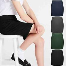 LADIES KIDS SKIRT PLAIN BLACK PENCIL SCHOOL UNIFORM SHORT DRESS OFFICE WORK WEAR