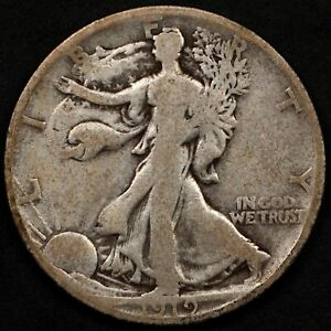 SCARCE DATE CIRCULATED 1919-D WALKING LIBERTY HALF DOLLAR. SELLING ENTIRE SET!