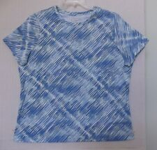 Studio Works Size 1X Diagonal brushstroke print knit top,short sleeve, blues NWT