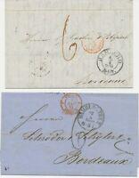 "HAMBURG Zwei Pra.-Transitbriefe n. BORDEAUX 1850/62 mit K3 ""HAMBURG / Th & Th."""
