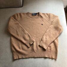 Mens POLO RALPH LAUREN Lambs Wool Knit Crewneck Jumper - Brown - XXL (Fits M/L)