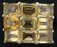 Citrine Emerald Cut Multi Gemstone Sterling Ring Size 8 PSR243