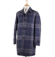 NWT $1845 BOGLIOLI Gray-Navy Multi Plaid Water Repellent Cotton Overcoat L Coat