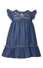 Bonnie Jean Lightweight Denim Dress with Embroidered Bodice, 2T-4T