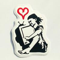 Banksy TV Girl Sticker Love Vinyl Decal Street Art Graffiti Car Bike Van Heart