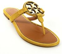 NIB Tory Burch Metal Miller Suede Leather Thong Sandal Goldfinch Yellow US 9