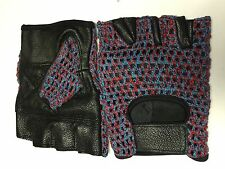 LEATHER HAND KNITTED MESH FINGERLESS GLOVES  BIKE DRIVING CYCLING WHEELCHAIR GYM
