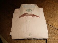 "T.M. LEWIN ~ Pink & White striped Shirt ~ size 16"" collar ~ Double Cuff"