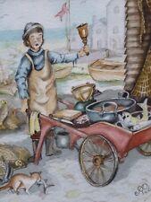 El vendedor de pescado Artista Acuarela Anthony Palmer Envío Gratis A Inglaterra