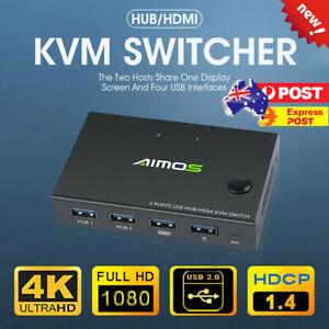 4K HDMI KVM Switch 2 Port USB HDMI KVM Switcher For Mouse&keyboard Sharing AU