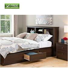Espresso Bookcase Headboard Queen Freestanding Storage Shelve Bedroom Furniture