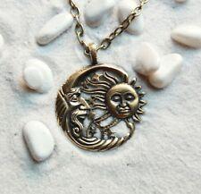 Sun and Moon Sun Necklace Moon Jewelry Day&Night Pendant: Bronze Handmade...