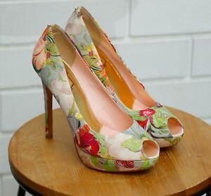Women's Ted Baker Floral Platform Peep Toe Heels Fluuri Size UK6 / 39