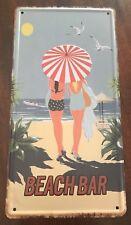 BEACH BAR NOVELTY NUMBER PLATE 1940's BEACH UMBRELLA 1950's ART DECO GIRLS SAND