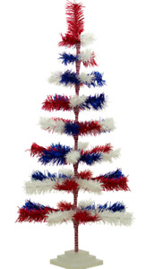 4th of July Tinsel Trees 4FT Classic Tinsel Feather Tree Red, White, & Blue 48''