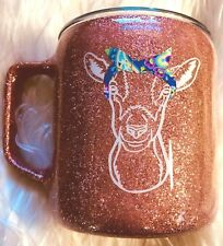 Goat with Bandana Coffee Mug, Rose Gold Glitter, Stainless Steel - 14 oz