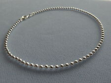 "NEW 9"" ITALIAN STERLING SILVER ANKLE BRACELET -ROUND BEAD LINK- 080- ITALY 925"