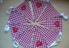 RED GINGHAM  CHECK SCANDINAVIAN With HEARTS BUNTING