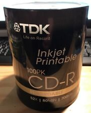 TDK Inkjet Printable CD-R Recordable-100 Pack 52x-80min-700MB