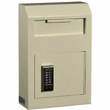 "Protex Wall Mount Drop Box with Electronic Lock, 10"" x 4-1/4"" x 15"", Beige"