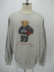M0366 VTG Polo Bear By Ralph Lauren USA Basketball Teddy Sweatshirt Size XL
