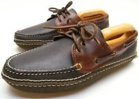 MENS MAINE CLASSICS 5142 MOCCASIN LACE UP BROWN LEATHER SHOES SZ 9 D MADE IN USA