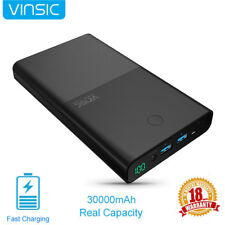 Vinsic 30000mAh Power Bank for Notebook Laptop Mobile DC 2 USB External Battery