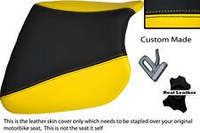 Black & Personalizado Amarillo encaja Kawasaki Ninja Zx9 R 94-97 Frontal De Cuero Funda De Asiento
