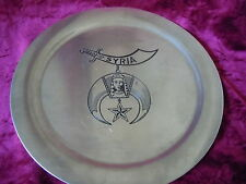 SYRIA SHRINER STAINLESS STEEL PLATE FREE MASON SYRIAN TEMPLE VINTAGE MASONRY OLD
