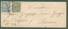 REGNO. DE LA RUE. Lettera per Torino del 5.1.1865. Affrancata con cent. .......