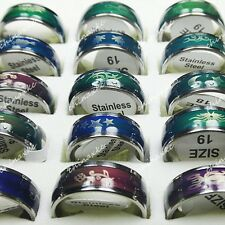 Hot Sale 15pcs Stainless Steel Enamel Change Color Mood Rings Wholesale Jewelry