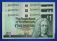 "3x 2001 Royal Bank of Scotland plc £1 One Pound ""C"" banknote CONSECUTIVE [21843]"