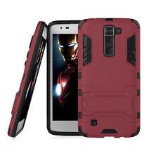 For LG K7 / Tribute 5 Rubber Impact Black Hybrid Kickstand Hard Case Phone Cover