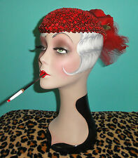 Vintage Red Sequins Cocktail Hat Rose & Veil pinup girl gatsby flapper burlesque