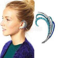 Fashion Blue Diamonds Feather Ear Cuff Clip Earrings Full Rhinestone Jewelry