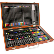 Deluxe Drawing Art Set Creativity 82 Piece Wooden Case Sketch Pad Colored Kit
