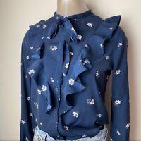 Abercrombie & Fitch floral top blouse navy blue button down shirt women's SZ S