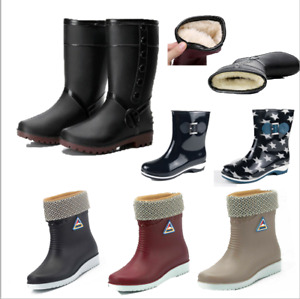 Damen Wasserdicht Regenstiefel Gefüttert Gummistiefel Gummischuhe Stiefel Boots*