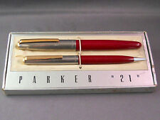 Parker 21 Deluxe Chrome Cap (Gold Clip) with red barrel Set--fine